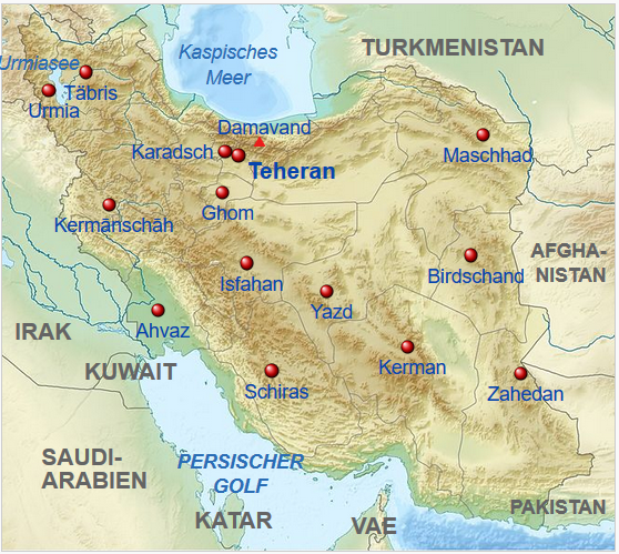 Iran – Karte mit Route